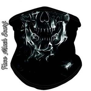 Unisex Face Mask Scarf Skull of Smoke Goth Black